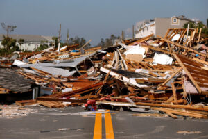 Rubble left in the aftermath of Hurricane Michael is pictured in Mexico Beach