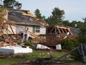 home destroyed from tornado damage